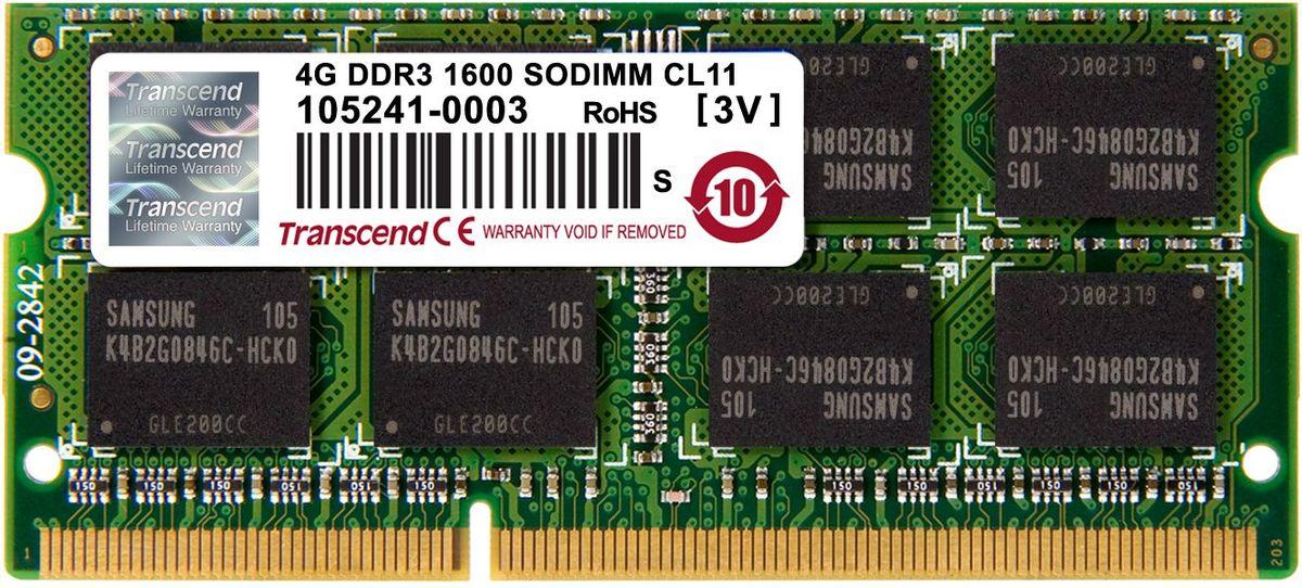 Transcend DDR3 SO-DIMM 4GB 1600МГц модуль оперативной памяти (TS512MSK64V6N)TS512MSK64V6NМиниатюрные размеры модуля памяти Transcend DDR3 SODIMM 4GB делают его подходящим для использования в ноутбуках. Частота 1600 МГц обеспечивает его высокую производительность (этот параметр легко можно отследить с помощью стандартного теста, проведенного любой операционной системой). Установка проста, не занимает много времени и не требует от вас наличия специальных знаний и умений. Модуль изготовлен из высококачественного текстолита, благодаря чему обладает очень высокой прочностью и долговечностью.