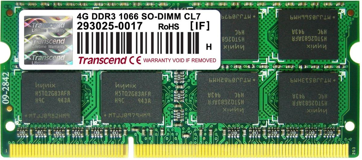 Transcend DDR3 SO-DIMM 4GB 1066МГц модуль оперативной памяти (TS512MSK64V1N)TS512MSK64V1NМиниатюрные размеры модуля памяти Transcend DDR3 SODIMM 4GB делают его подходящим для использования в ноутбуках. Частота 1066 МГц обеспечивает его высокую производительность (этот параметр легко можно отследить с помощью стандартного теста, проведенного любой операционной системой). Установка проста, не занимает много времени и не требует от вас наличия специальных знаний и умений. Модуль изготовлен из высококачественного текстолита, благодаря чему обладает очень высокой прочностью и долговечностью.Как собрать игровой компьютер. Статья OZON Гид