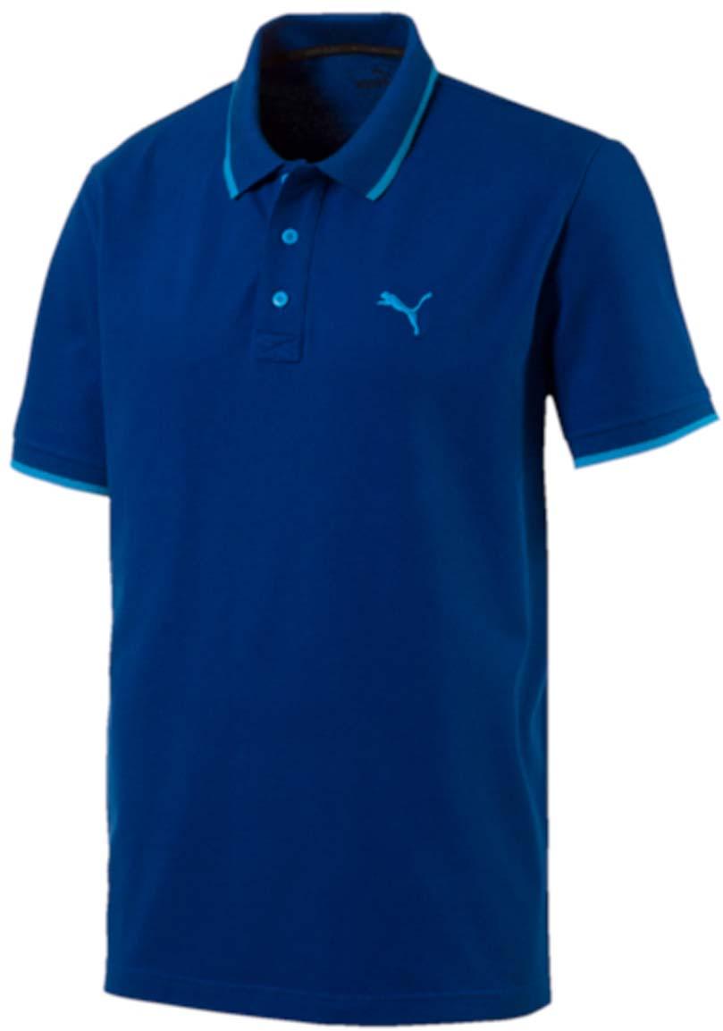 Поло мужское Puma Hero Polo, цвет: синий, голубой. 838303_32. Размер S (44/46)838303_32Стильная мужская рубашка-поло Hero Polo выполнена из хлопка с добавлением эластана. Высокофункциональная технология dryCELL отводит влагу, поддерживает тело сухим и гарантирует максимальный комфорт. Модель декорирована вышитым логотипом PUMA. Среди других отличительных особенностей изделия - двухцветный отложной воротник с контрастной полосой, отделка тесьмой с фирменной символикой с внутренней стороны ворота и манжеты из эластичного трикотажа. Классический крой понравится ценителям простого и лаконичного стиля, а воротник добавит элегантности модели. Отличный вариант для повседневного образа.