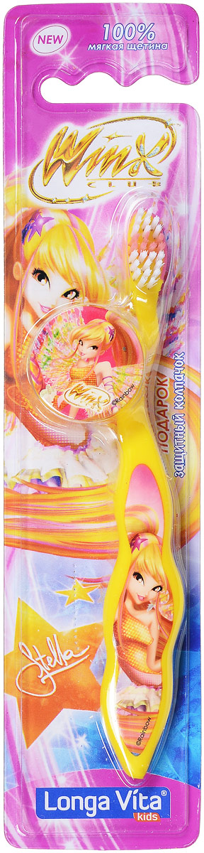 Longa Vita Детская зубная щетка Winx, мягкая, цвет: желтый. с защитным колпачком, от 3-х лет125196_жёлтыйLonga Vita Детская зубная щетка Winx, мягкая, цвет: желтый. с защитным колпачком, от 3-х лет