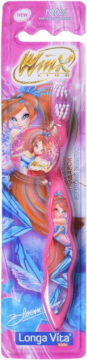 Longa Vita Детская зубная щетка Winx, мягкая, цвет: розовый, с защитным колпачком, от 3-х лет125196_розовыйLonga Vita Детская зубная щетка Winx, мягкая, цвет: розовый, с защитным колпачком, от 3-х лет
