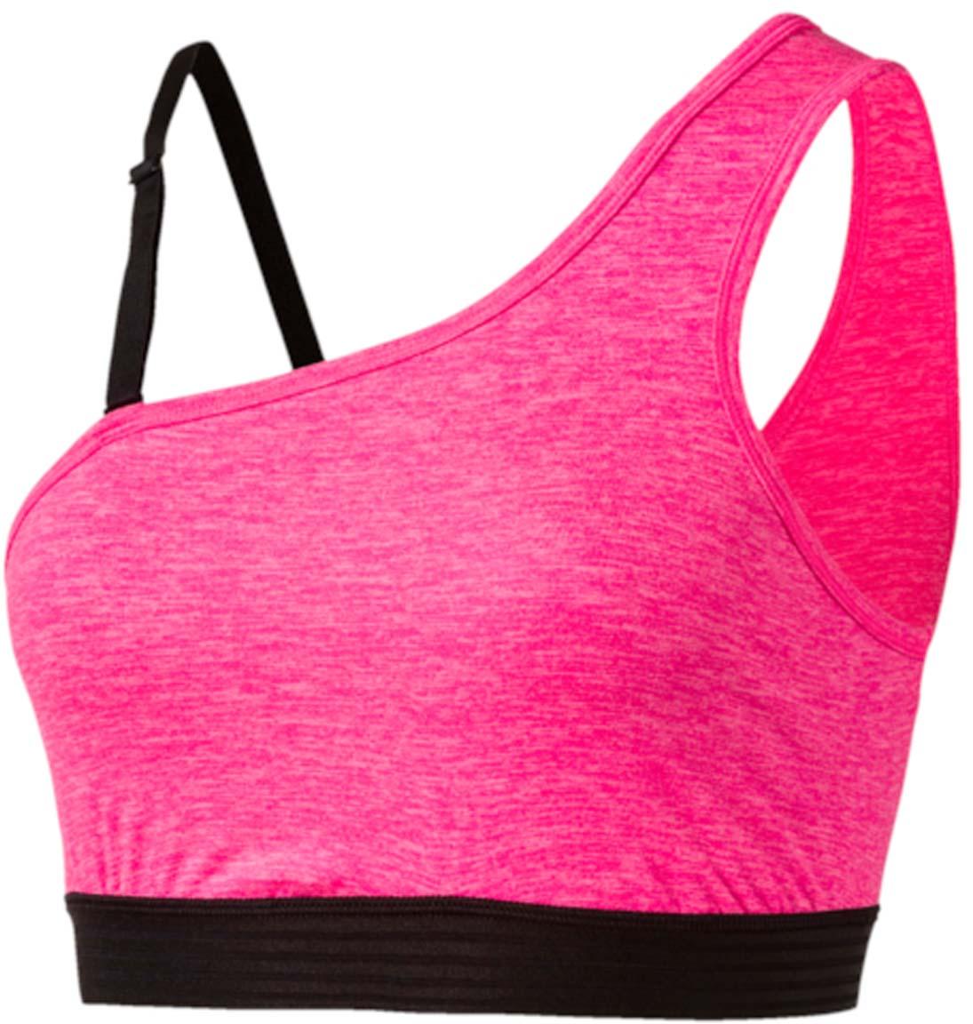 Топ-бра для йоги Puma YOGINI One Shoulder, цвет: розовый. 515149_03. Размер S (42/44)515149_03Этот топ оригинального ассиметричного фасона и лаконичного дизайна изготовлен с использованием высокофункциональной технологии dryCELL, которая отводит влагу, поддерживает тело сухим и гарантирует комфорт во время активных тренировок и занятий спортом. Отстегивающаяся лямка через одно плечо позволяет самостоятельно менять облик изделия и при необходимости оказывает дополнительную поддержку. Топ выполнен из очень мягкого материала с небольшим приятным на ощупь начесом на изнанке, а нижний край отделан сверхэластичным материалом.