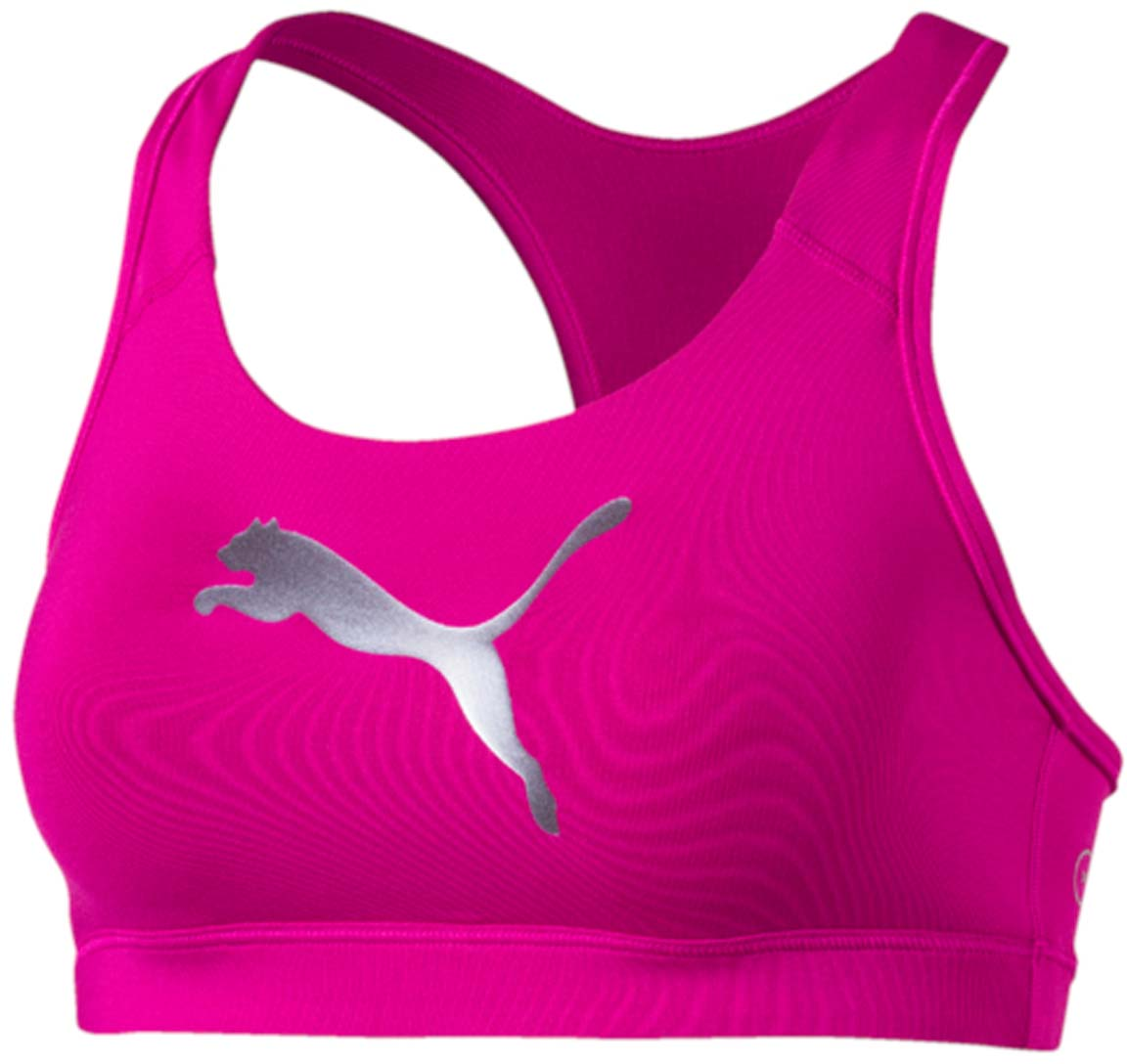 Топ-бра для фитнеса Puma PWRSHAPE Forever, цвет: розовый. 513965_29. Размер XS (42)513965_29Этот спортивный бюстгальтер-топ станет вашей любимой моделью, потому что он - незаменимая часть вашего гардероба для занятий спортом и активного отдыха! Отличный дизайн обеспечивает универсальность, поэтому бюстгальтер можно надевать в тренажерный зал, на занятие всеми видами фитнеса, на пробежку. Дополнительные удобства создаются за счет использования высокофункциональной технологии dryCELL, которая отводит влагу, поддерживает тело сухим и гарантирует комфорт во время активных тренировок и занятий спортом. Наплечные лямки с мягкой подложкой, не перекрещивающиеся на спине, не натирают, не давят, а также обеспечивают полную свободу движений и удобство надевания изделия благодаря функциональному крою спины. Отделка низа сверхэластичным плотным материалом создает дополнительную поддержку. Бюстгальтер декорирован спереди логотипом PUMA из светоотражающего материала, нанесенным методом термопечати, благодаря которому вас лучше видно в темное время суток. На нижний край изделия методом термопечати нанесен логотип dryCELL. Модель подходит для всех видов физической активности.