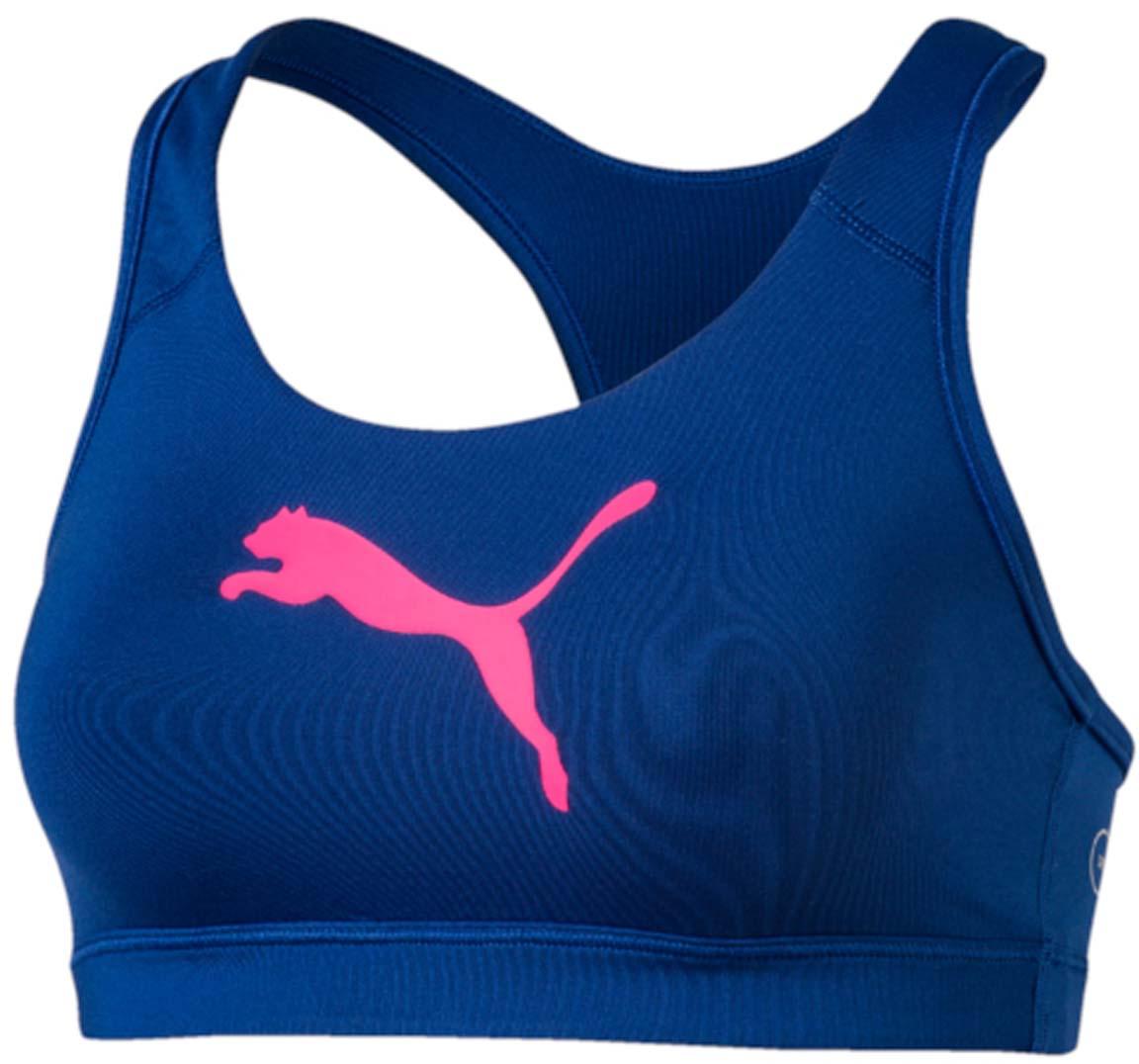 Топ-бра для фитнеса Puma PWRSHAPE Forever, цвет: синий, розовый. 513965_28. Размер XS (42)513965_28Этот спортивный бюстгальтер-топ станет вашей любимой моделью, потому что он - незаменимая часть вашего гардероба для занятий спортом и активного отдыха! Отличный дизайн обеспечивает универсальность, поэтому бюстгальтер можно надевать в тренажерный зал, на занятие всеми видами фитнеса, на пробежку. Дополнительные удобства создаются за счет использования высокофункциональной технологии dryCELL, которая отводит влагу, поддерживает тело сухим и гарантирует комфорт во время активных тренировок и занятий спортом. Наплечные лямки с мягкой подложкой, не перекрещивающиеся на спине, не натирают, не давят, а также обеспечивают полную свободу движений и удобство надевания изделия благодаря функциональному крою спины. Отделка низа сверхэластичным плотным материалом создает дополнительную поддержку. Бюстгальтер декорирован спереди логотипом PUMA из светоотражающего материала, нанесенным методом термопечати, благодаря которому вас лучше видно в темное время суток. На нижний край изделия методом термопечати нанесен логотип dryCELL. Модель подходит для всех видов физической активности.