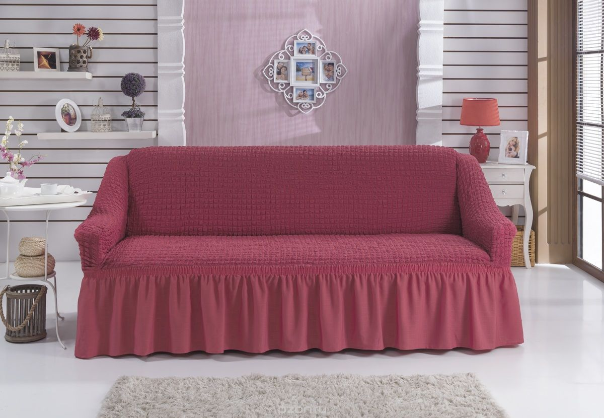 Чехол для дивана Karna Bulsan, двухместный, цвет: коралловый2027/CHAR005Фиксаторы позволяют надежно закрепить чехол Karna Bulsan на вашей мебели. Они вставляются в расстояние между спинкой и сиденьем, фиксируя чехол в одном положении, и не позволяют ему съезжать и терять форму. Фиксаторы особенно необходимы в том случае, если у вас кожаная мебель или мебель нестандартных габаритов. Выполнен чехол из высококачественного полиэстера и хлопка.Ширина посадочных мест: 140-180 см.Глубина посадочных мест: 70-80 см.Высота спинки от посадочного места: 70-80 см.Ширина подлокотников: 25-35 см.Высота юбки: 35 см.