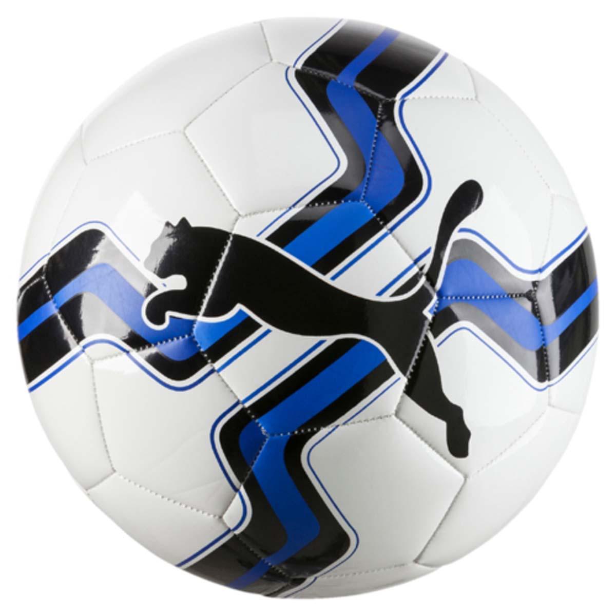 Мяч футбольный Puma Big Cat Ball, цвет: белый, синий, Размер 5. 0827580108275801Футбольный мяч Puma Big Cat Ball подходит как для тренировок, так и для игр с друзьями или семьей. Комбинация термопластичного полиуретана и пены из термопластичного эластомера вместе полиэстеровойподкладкой позволяют отлично держать форму, пружинить и улетать так далеко, как нужно игрокам. Резиновая камера прекрасно справляется с сопротивлением воздуха.Мяч имеет оригинальный яркий дизайн и логотип компании Puma.