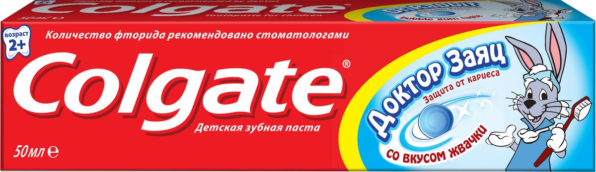 Зубная паста детская Colgate Доктор заяц, со вкусом жвачки, 50 млFCN89286Детская зубная паста Colgate Доктор заяц со вкусом жвачкизащищает зубы от кариеса.Содержит проверенную Colgate защиту с фтором, более эффективно предотвращает кариес.Паста содержит безопасное для детей количество фтора.Поможет привить ребенку привычку чистить зубы.Без сахара, для более здоровых зубов. Характеристики: Объем: 50 мл. Изготовитель: Китай.Товар сертифицирован.