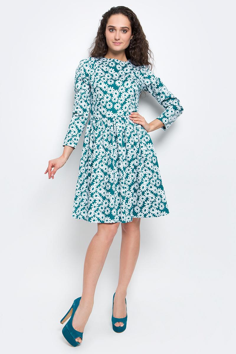 Платье Baon, цвет: изумрудный, белый. B457006_Teal Printed. Размер XL (50) платье baon цвет бледно голубой b457056