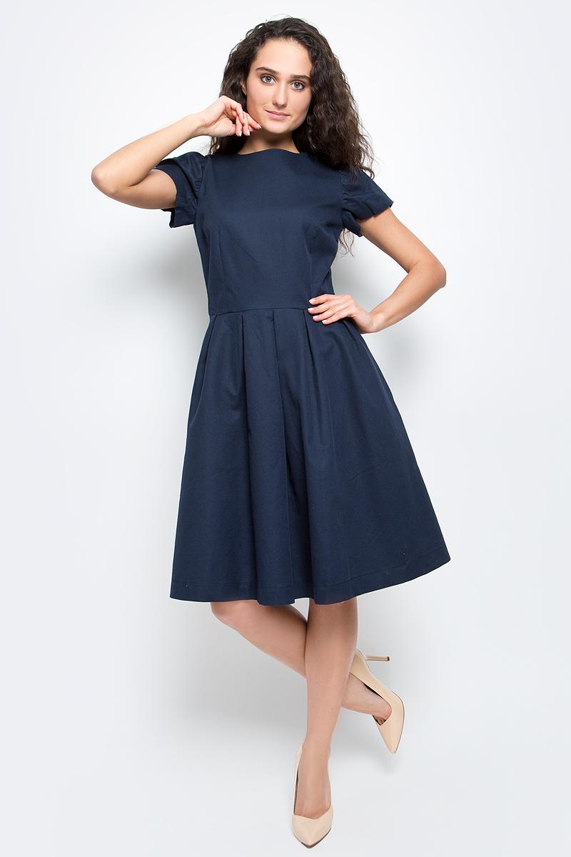 Платье Baon, цвет: темно-синий. B457045_Dark Navy. Размер XL (50)B457045_Dark NavyСтильное платье Baon выполнено из натурального рельефного хлопка. Модель приталенного кроя с круглым вырезом горловины и короткими рукавами-фонариками прекрасно сидит и подчеркивает достоинства фигуры. Платье застегивается на потайную застежку-молнию на спинке и дополнено двумя боковыми карманами. В таком платье вы будете выглядеть элегантно и женственно.