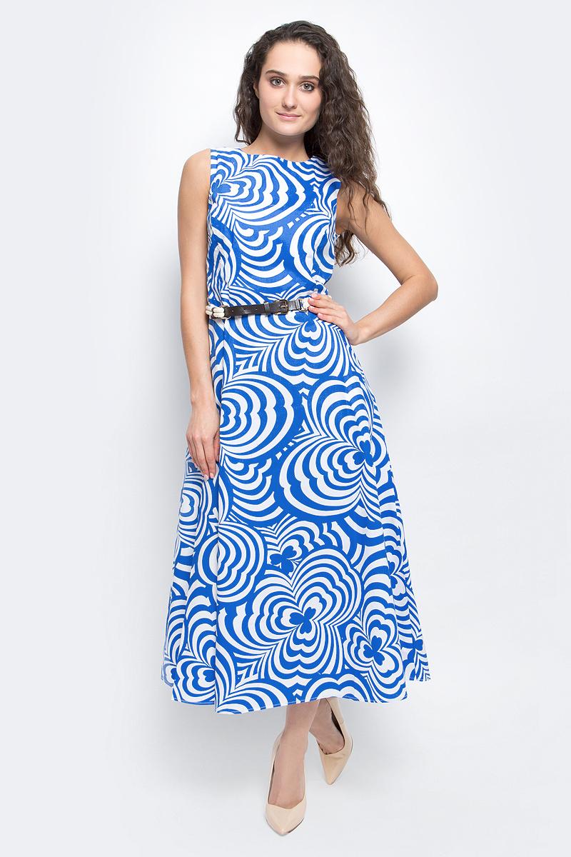 Платье Baon, цвет: голубой, белый. B457098_Light Cobalt Printed. Размер L (48)B457098_Light Cobalt PrintedСтильное летнее платье Baon выполнено из 100% хлопка с подкладкой. Модель приталенного силуэта с круглым вырезом горловины подарит вам комфорт и подчеркнет достоинства фигуры. Платье оформлено контрастным принтом. Изделие застегивается на потайную застежку-молнию на спинке. Талию подчеркивает тонкий ремешок с элементами канатного плетения. В таком платье вы будете выглядеть элегантно и женственно.