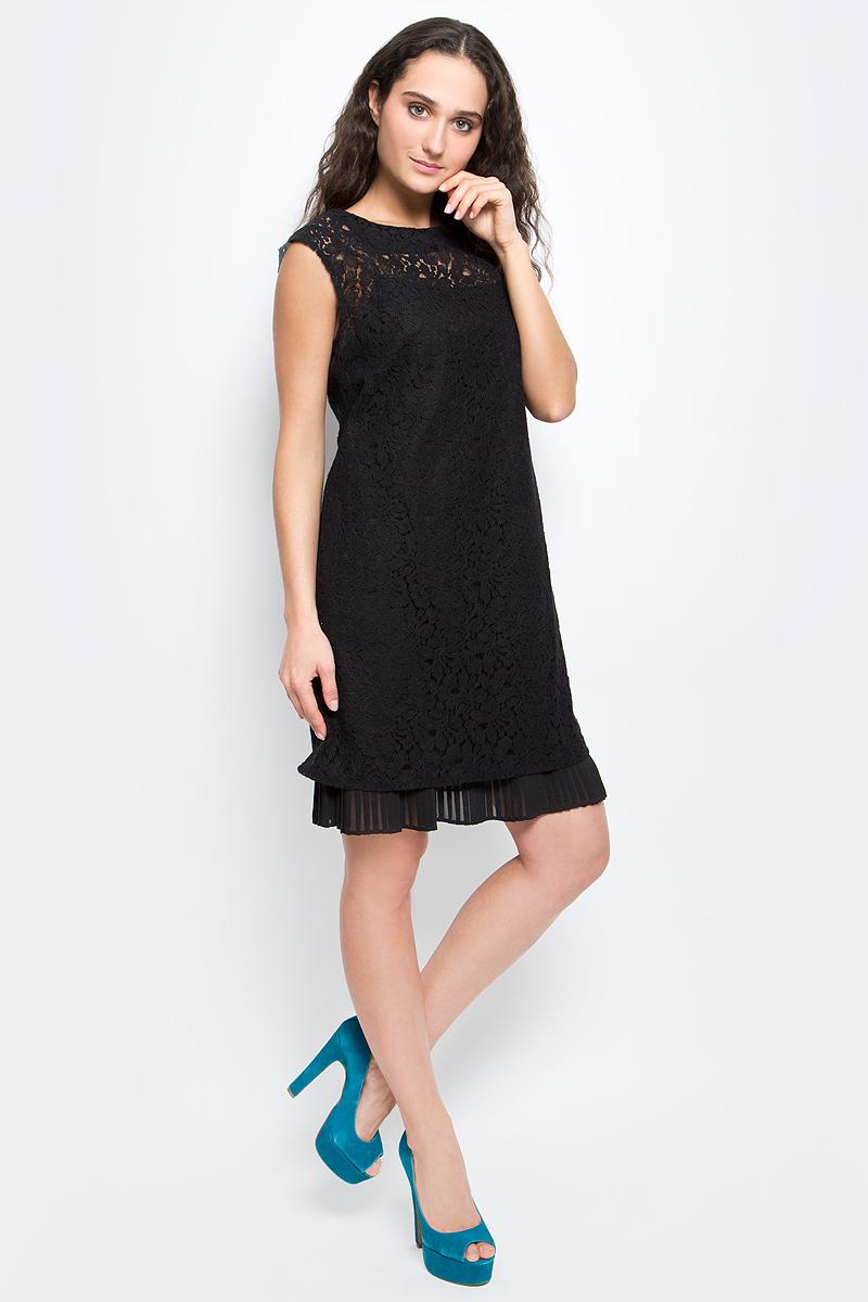 Платье Baon, цвет: черный. B457075_Black. Размер XL (50)B457075_BlackПлатье Baon выполнено из хлопка и полиамида. Модель рукавов с круглым вырезом горловины выполнена в оригинальном дизайне и оснащена бретелями, длину которых можно изменять с помощью пряжек. Верх оформлен кружевом. Низ платья оформлен сборкой. Модель застегивается сзади с помощью пуговицы.