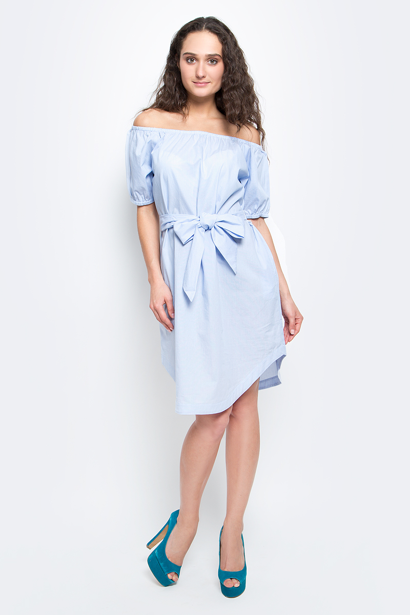 Платье Baon, цвет: бледно-голубой. B457056_Tear Drop Striped. Размер L (48) платье baon цвет бледно голубой b457056
