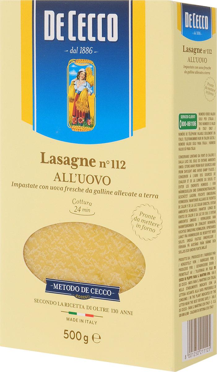 De Cecco паста лазанья с добавлением яйца №112, 500 г romeo rossi паста яичная 4 яйца ригатони трехцветная 500 г