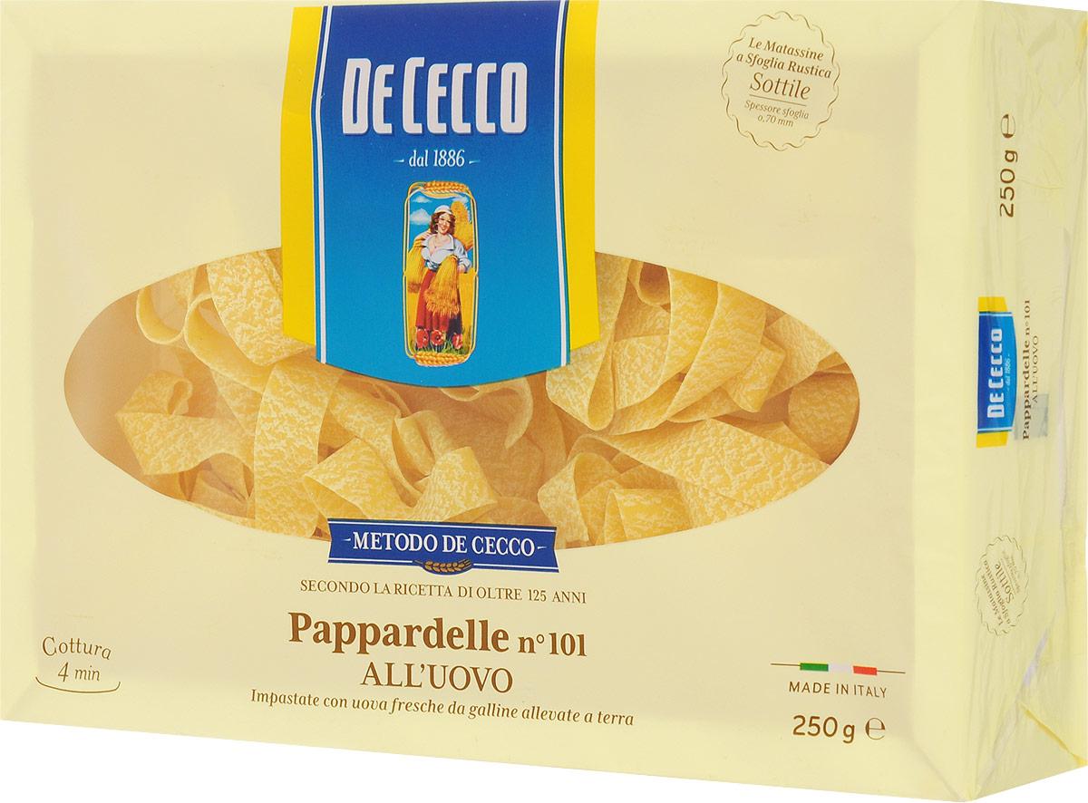 De Cecco паста паппарделле с добавлением яйца №101, 250 г8001250201010Паста паппарделле с добавлением яйца №101 De Cecco - классическая широкая яичная паста, родом из Тосканы. На итальянском pappare - жадно есть, пожирать.Подается с густыми сливочными или мясными соусами, чаще - в запеченных блюдах.