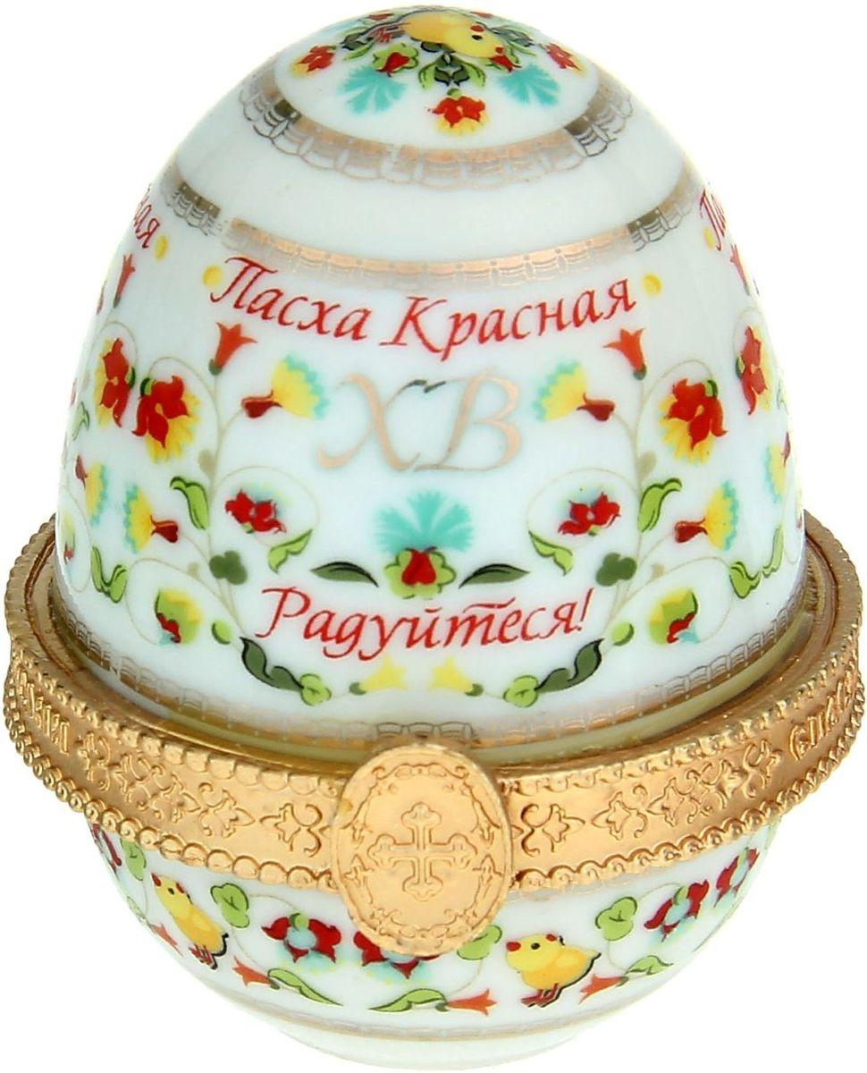 Яйцо-шкатулка Sima-land Цветочный, без ножек, 5 х 5 х 6,5 см