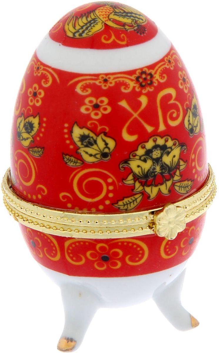 Яйцо-шкатулка пасхальная Хохлома, 5,5 х 5,5 х 7,5 см. 11809081180908Пасхальное яйцо — символ жизни и возрождения, ведь именно в Пасху традиционно дарят крашеные или расписные яйца. А в такую забавную шкатулочку можно положить одно из таких яиц и преподнести своему самому родному и близкому человеку, такой презент никогда не забудется, и будет отличаться от других поздравлений.