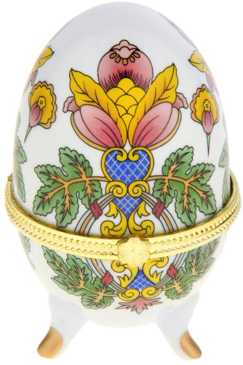 Шкатулка Sima-land Райский цветок, 6 х 6,5 х 10 см295544Шкатулка для украшений, выполненная в форме яйца, за последние годы стала традиционным и очень популярным пасхальным подарком. Витые узоры и рисунки, искусно сочетаясь между собой, создают целостную композицию, украшающую ее поверхность. Шкатулка крепится на трех изогнутых ножках и эффектно смотрится на полке, комоде, камине или в серванте. В ассортименте представлены шкатулки разных цветов, декорированные затейливыми узорами, цветами и прочими элементами. Изысканный и утонченный подарок к самому главному православному празднику!