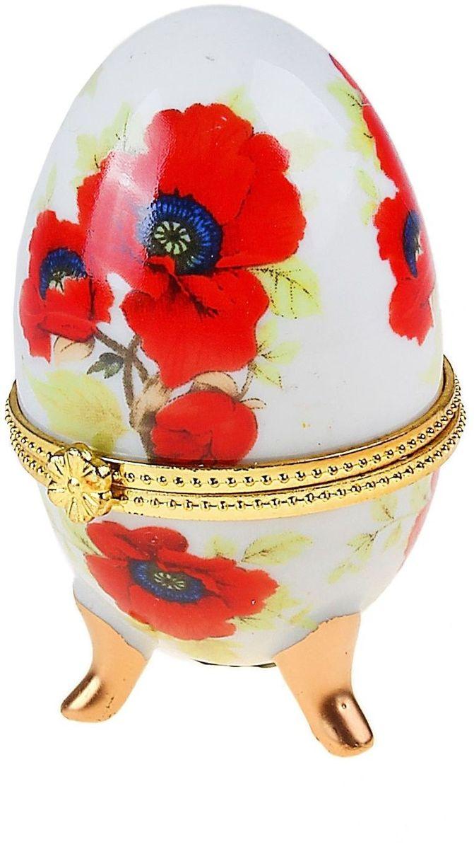 Шкатулка-яйцо Sima-land Маки на белом, 5 х 5 х 8 см яйцо шкатулка sima land цветочный без ножек 5 х 5 х 6 5 см