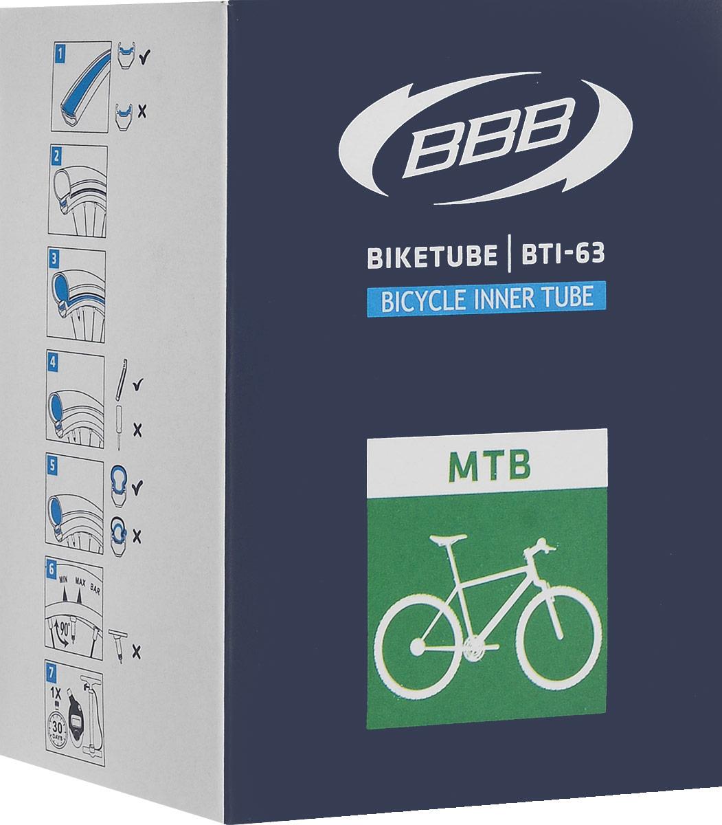 Камера велосипедная BBB, диаметр 26BTI-63Камера BBB изготовлена из долговечного резинового компаунда. Никаких швов, которые могут пропускать воздух. Достаточно большая для защиты от проколов и достаточно небольшая для снижения веса. Велосипедные камеры - обязательный атрибут каждого велосипедиста! Никогда не выезжайте из дома на велосипеде, не взяв с собой запасную велосипедную шину!Диаметр колеса: 26.Допустимый размер сечения покрышки: 1,9-2,125.Ниппель: F/V-60 мм.Толщина стенки: 0,87 мм. Категория: универсальная.