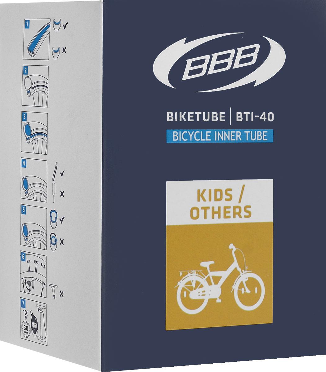 Камера велосипедная BBB, диаметр 24BTI-40Камера BBB изготовлена из долговечного резинового компаунда. Никаких швов, которые могут пропускать воздух. Достаточно большая для защиты от проколов и достаточно небольшая для снижения веса. Велосипедные камеры - обязательный атрибут каждого велосипедиста! Никогда не выезжайте из дома на велосипеде, не взяв с собой запасную велосипедную шину!Диаметр колеса: 24.Допустимый размер сечения покрышки: от 1,9 до 2,125.Ниппель: AV 40 мм.Толщина стенки: 0,87 мм. Категория: универсальная.