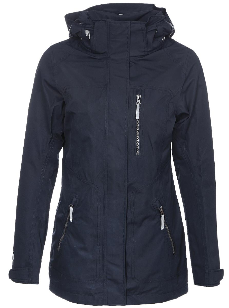 Куртка женская Icepeak, цвет: темно-синий. 753011553IV. Размер 38 (44)753011553IVЖенская куртка Icepeak выполнена из качественного полиэстера. Модель с длинными рукавами застегивается на застежку-молнию. Изделие дополнено съемным капюшоном и тремя врезными карманами на молниях.