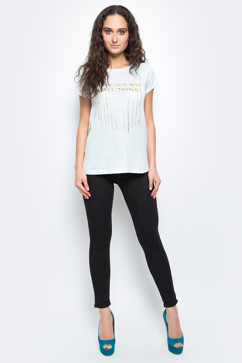 Футболка женская Baon, цвет: бледно-голубой. B237070_Myosotis. Размер XL (50) футболка женская baon цвет белый b237081 white размер xl 50