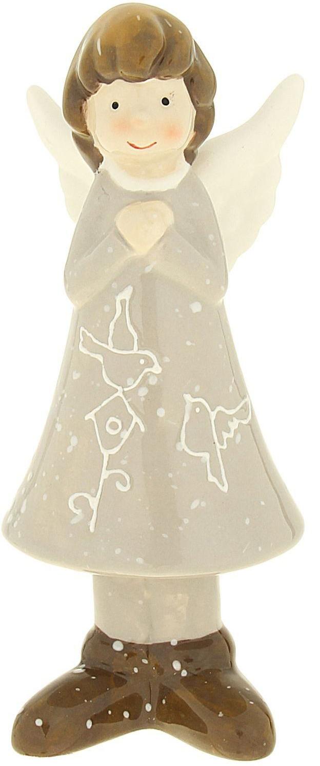Сувенир пасхальный Sima-land Ангелок в платье с птичкой, 5,5 х 4,9 х 14,6 см сувенир пасхальный sima land ангел с розочкой на платье 13 х 8 х 6 см