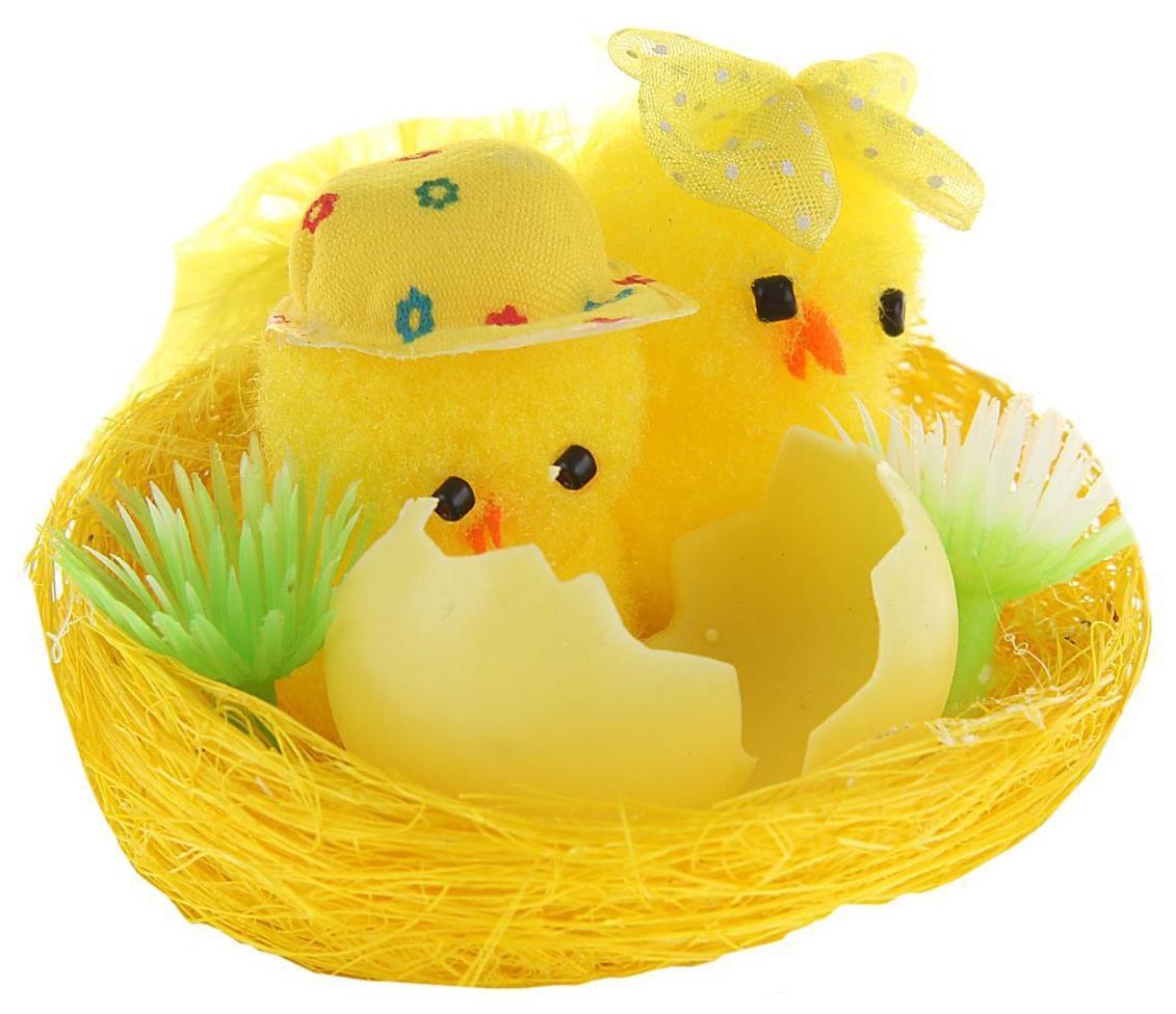 Сувенир пасхальный Sima-land Цыплята на травке, 7 х 7 х 5 см сувенир sima land обезьянка в шарфике цвет желтый 7 х 5 7 х 8 5 см