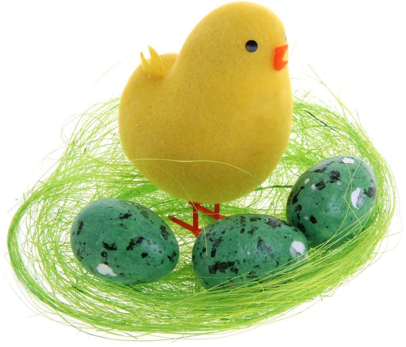 Сувенир пасхальный Sima-land Цыплёнок на травке и три яйца, 6 х 6 х 10 см сувенир пасхальный sima land ангел с розочкой на платье 13 х 8 х 6 см