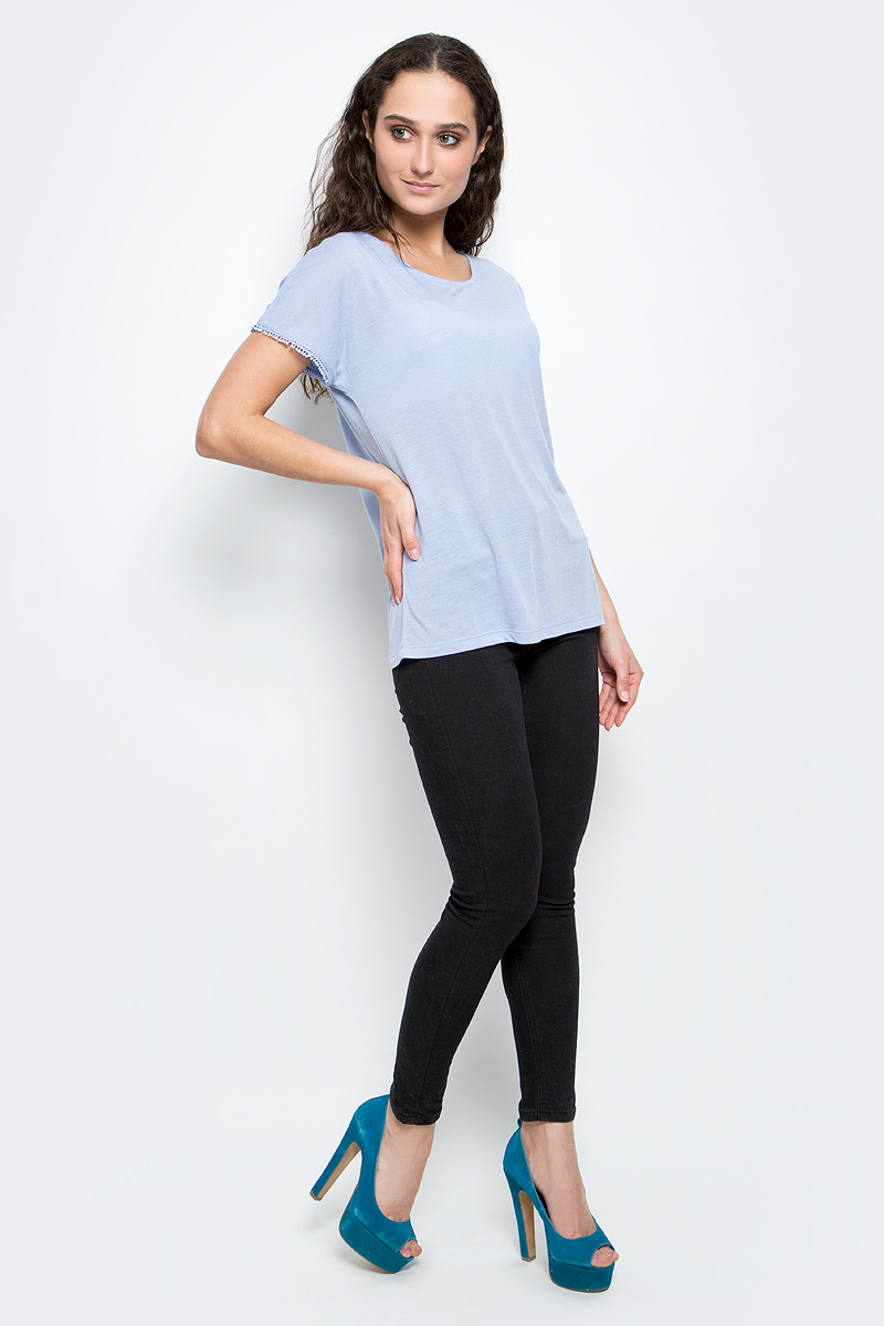 Футболка женская Baon, цвет: бледно-голубой. B237039_Myosotis. Размер XL (50) футболка женская baon цвет белый b237081 white размер xl 50