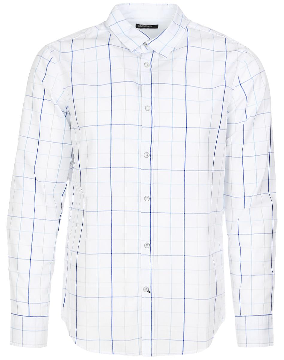 Рубашка мужская Baon, цвет: белый, синий. B667009_White Checked. Размер XL (52) футболка мужская baon цвет красный b737001 размер xl 52