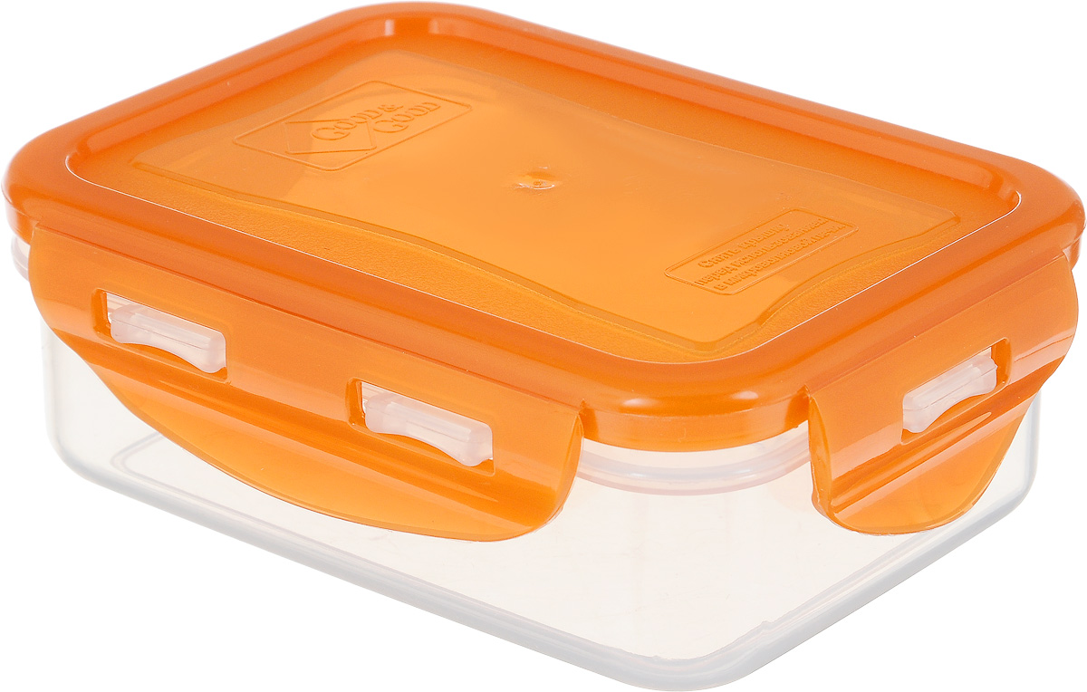 """Прямоугольный контейнер """"Good&Good"""" изготовлен из высококачественного полипропилена и предназначен для хранения пищевых продуктов. Благодаря особым технологиям изготовления, изделие в течение срока службы не меняет цвет и не пропитывается запахами. Крышка с силиконовой вставкой герметично защелкивается и дольше сохраняет продукты свежими и вкусными.  Контейнер """"Good&Good"""" удобен для ежедневного использования в быту. Можно мыть в посудомоечной машине и использовать в микроволновой печи при температуре не более 100°С (перед разогревом необходимо снять крышку). Пригоден для хранения в морозильной камере при температуре не ниже -24°С."""