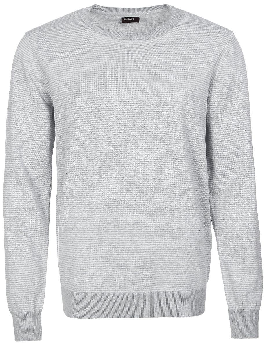 Джемпер мужской Baon, цвет: светло-серый меланж. B637018_Silver Melange Striped. Размер XXL (54) водолазка мужская baon цвет синий b727502 baltic blue melange размер xxl 54