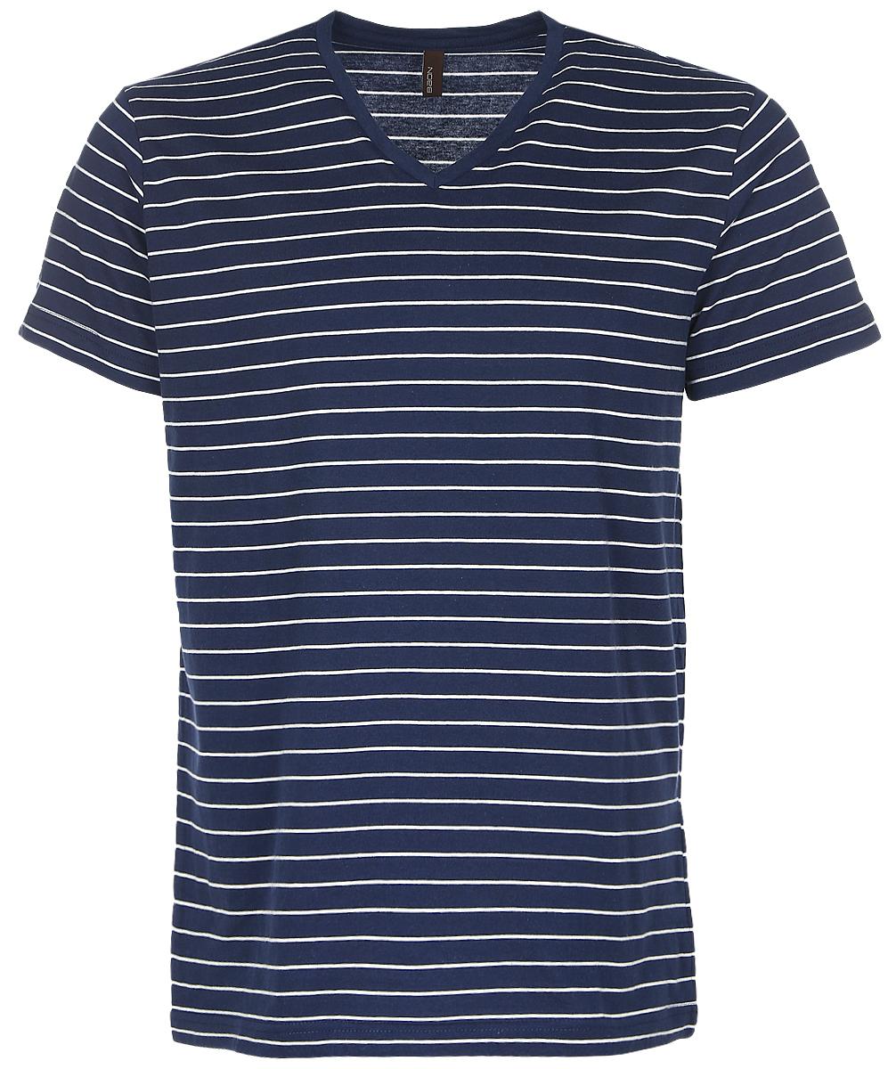 Футболка мужская Baon, цвет: темно-синий, белый. B737033_Deep Navy Striped. Размер L (50)B737033_Deep Navy StripedСтильная мужская футболка Baon изготовлена из натурального хлопка. Материал очень мягкий и приятный на ощупь. Модель прямого кроя с V-образным вырезом горловины и короткими рукавами оформлена принтом в тонкую полоску.Такая футболка займет достойное место в гардеробе современного и уверенного в себе мужчины.