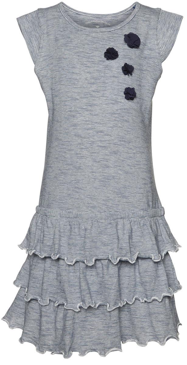 Платье для девочки Tom Tailor, цвет: темно-синий, белый. 5019623.00.81_6845. Размер 104/1105019623.00.81_6845Яркое платье для девочки Tom Tailor выполнено из качественного хлопка. Модель трапециевидного кроя с круглым вырезом горловины, короткими рукавами-крылышками и юбкой-воланом оформлена принтом в полоску и украшена аппликацией в виде объемных цветочков.