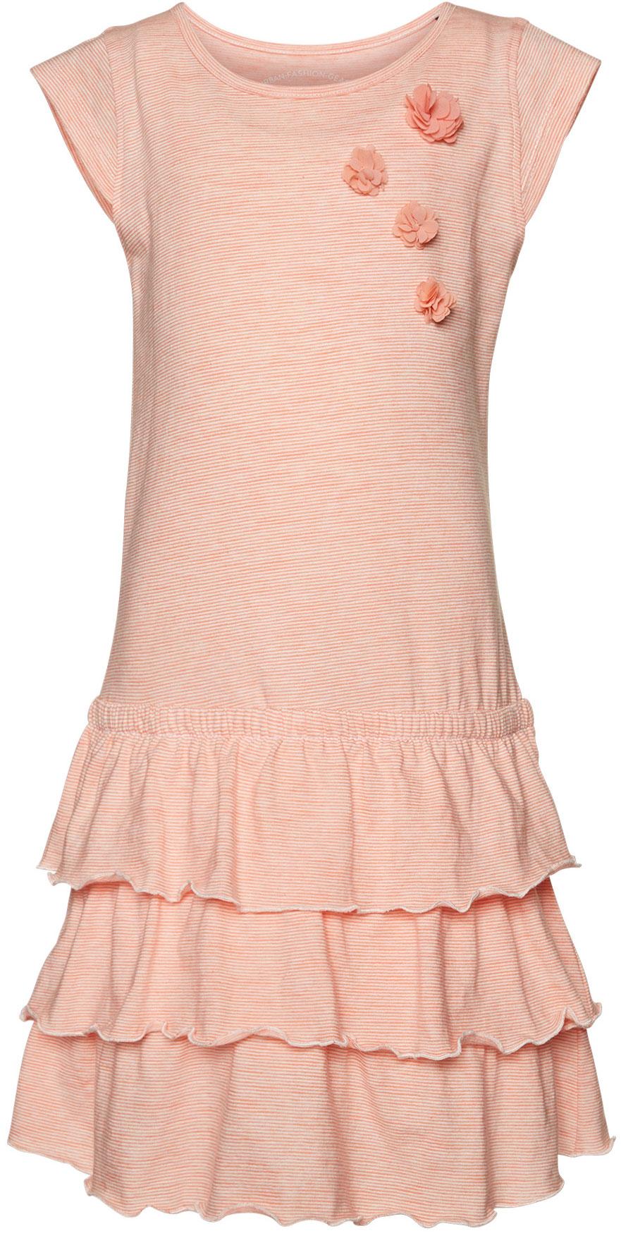 Платье для девочки Tom Tailor, цвет: оранжевый, белый. 5019623.00.81_3335. Размер 92/985019623.00.81_3335Яркое платье для девочки Tom Tailor выполнено из качественного хлопка. Модель трапециевидного кроя с круглым вырезом горловины, короткими рукавами-крылышками и юбкой-воланом оформлена принтом в полоску и украшена аппликацией в виде объемных цветочков.
