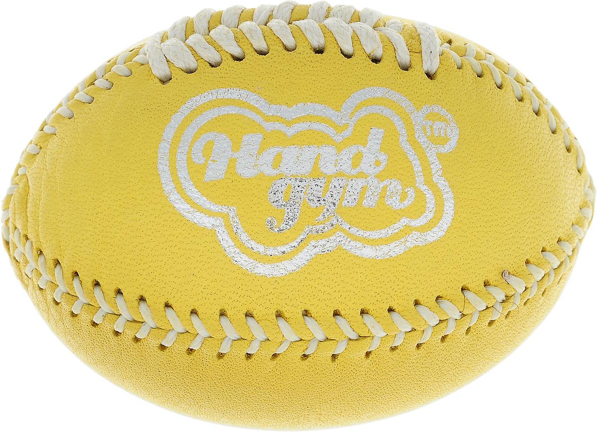 Эспандер кистевой HandGum HandGym. Регби, цвет: желтый, 7 х 5 х 5 см260_желтыйКистевой эспандер HandGum HandGym - отличный тренажер, который превосходно развивает моторику и силу рук. Изделие выполнено из кожи в виде мяча для регби, внутри - специальный наполнитель. Эспандер прекрасно подходит для любого возраста и уровня подготовки. Он позволяет эффективно развивать силу самым слабым рукам, а также является отличным тренажером для профессиональных спортсменов.