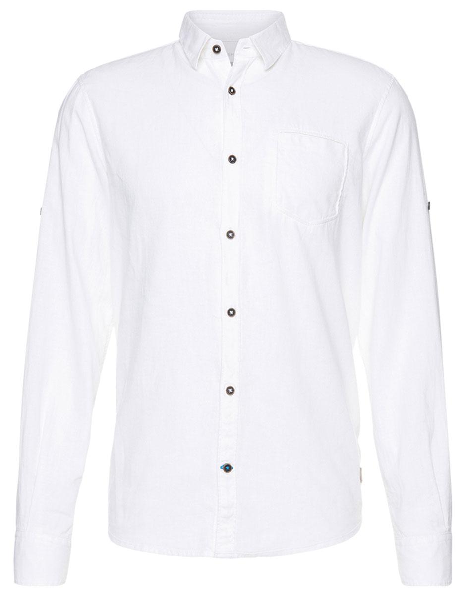 Рубашка мужская Tom Tailor, цвет: белый. 2033129.00.10_2000. Размер M (48)2033129.00.10_2000Мужская рубашка Tom Tailor поможет создать отличный современный образ. Модель изготовлена из высококачественного материала. Рубашка с отложным воротником и длинными рукавами застегивается по всей длине на пуговицы. Манжеты рукавов оснащены застежками-пуговицами. На груди предусмотрен накладной карман. Такая рубашка станет стильным дополнением к вашему гардеробу, она подарит вам комфорт в течение всего дня!