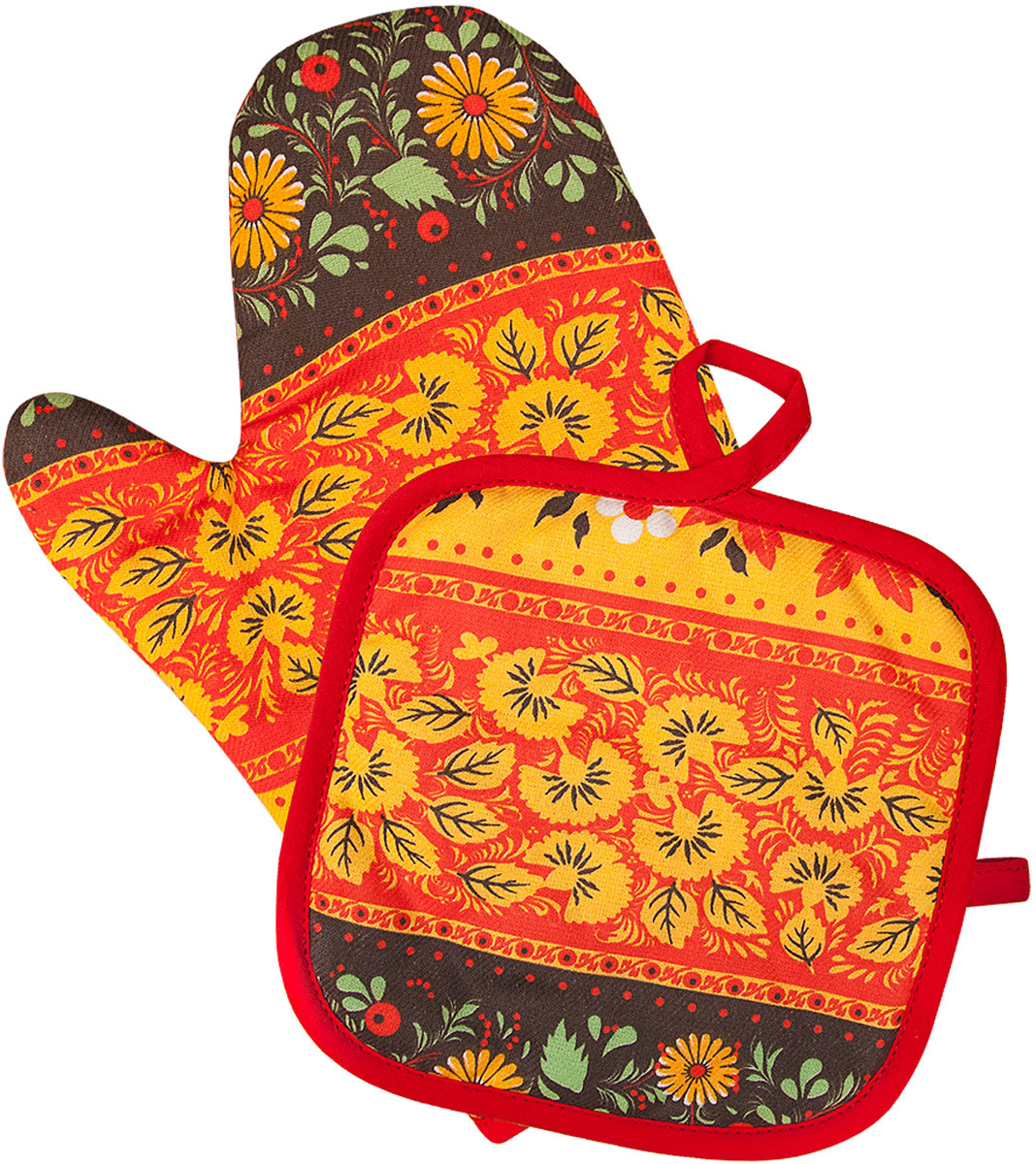Набор прихваток Bonita Славянка, 2 предмета11010816757Набор Bonita Славянка состоит из прихватки-рукавицы и квадратной прихватки. Изделия выполнены из натурального хлопка и декорированы оригинальным рисунком. Прихватки простеганы, а края окантованы. Оснащены специальными петельками, за которые их можно подвесить на крючок в любом удобном для вас месте. Такой набор красиво дополнит интерьер кухни.