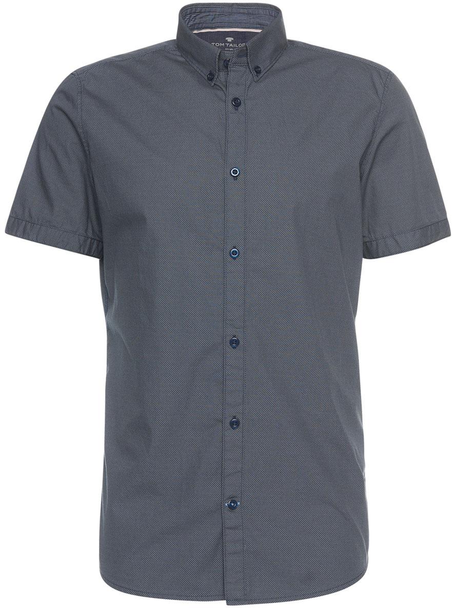 Рубашка мужская Tom Tailor, цвет: темно-серый, темно-синий. 2032829.09.10_6519. Размер XL (52)2032829.09.10_6519Мужская рубашка Tom Tailor поможет создать отличный современный образ. Модель изготовлена из хлопка. Рубашка с отложным воротником и короткими рукавами застегивается по всей длине на пуговицы. Оформлено изделие оригинальным узором.Такая рубашка станет стильным дополнением к вашему гардеробу, она подарит вам комфорт в течение всего дня!