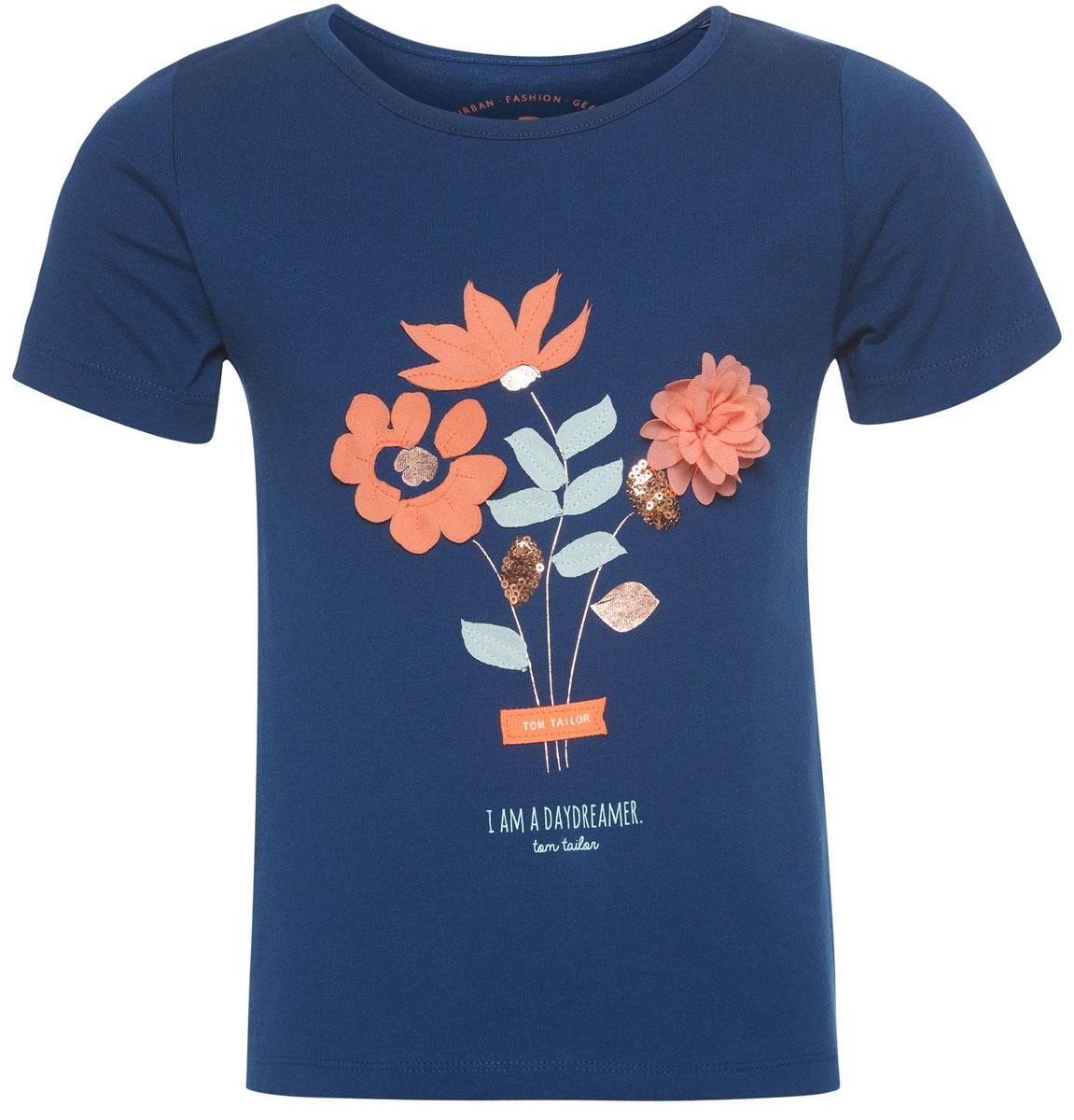 Футболка для девочки Tom Tailor, цвет: темно-синий. 1037044.00.81_6845. Размер 116/122 джинсы для девочки tom tailor цвет синий 6205466 00 81 1094 размер 122