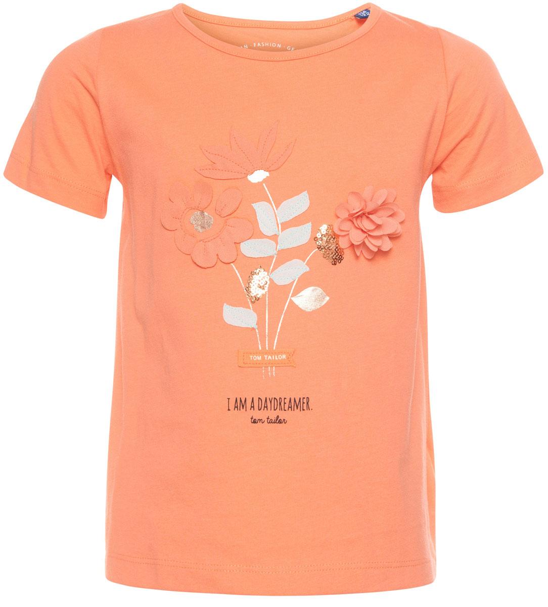 Футболка для девочки Tom Tailor, цвет: оранжевый. 1037044.00.81_3335. Размер 116/122 джинсы для девочки tom tailor цвет синий 6205466 00 81 1094 размер 122