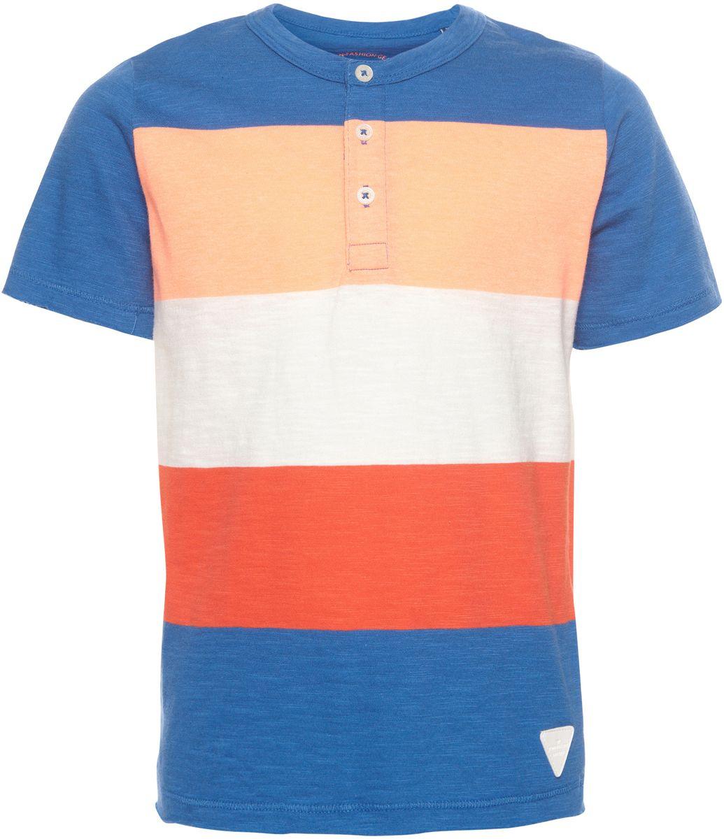 Футболка для мальчика Tom Tailor, цвет: синий, оранжевый, белый. 1037032.00.82_6069. Размер 104/110 рубашка для мальчика tom tailor цвет красный 2033684 00 82 5479 размер 104 110