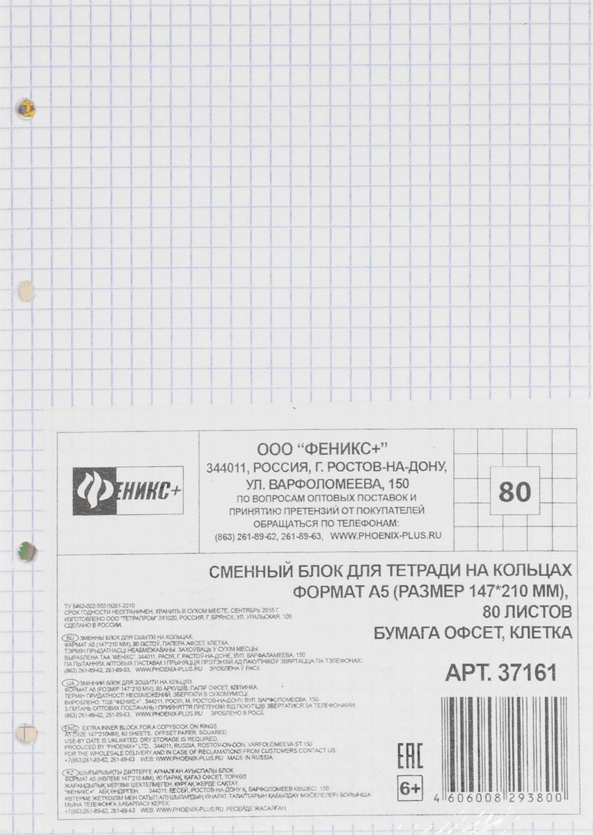 Феникс+ Сменный блок для тетради на кольцах формат А5 80 листов в клетку феникс блок для записи с карандашом 40 листов в ассортименте