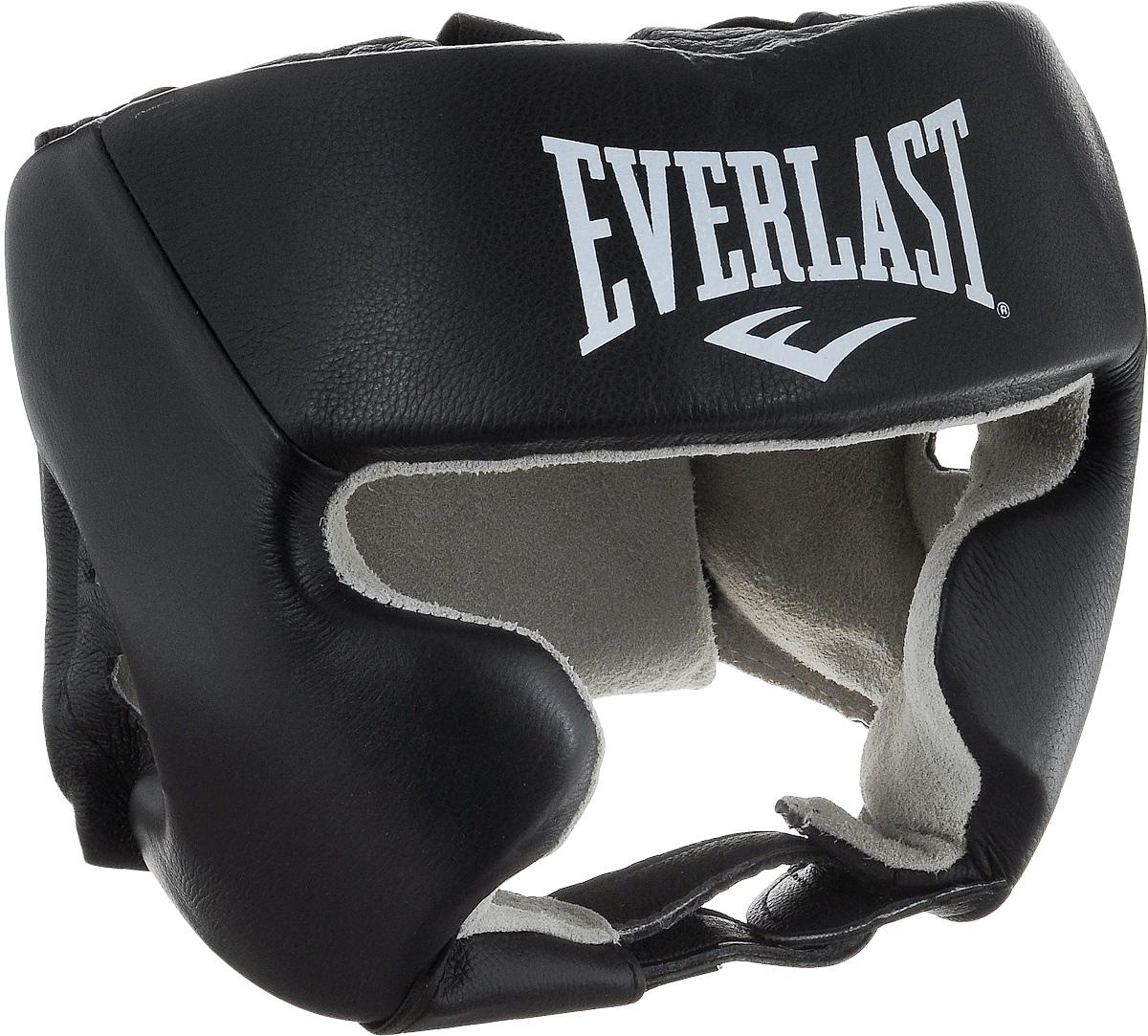 Шлем боксерский Everlast USA Boxing Cheek, с защитой щек, цвет: черный, белый. Размер L цена