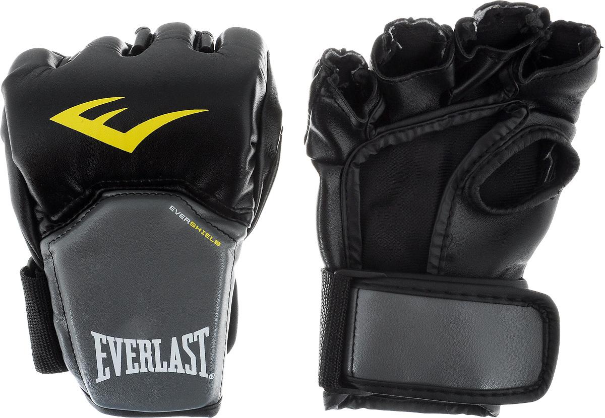 Перчатки для единоборств Everlast Competition Style MMA, цвет: черный, серый, желтый. Размер S/M3112LXLUОписание: Перчатки в полной мере отвечающие специфическим требованиям, предъявляемым к спортивному снаряжению MMA. Благодаря особенностям технологии Evershield – обеспечивается непревзойденная защита и комфорт тыльной стороны кисти — наиболее проблемной и травмируемой зоне. Ударная поверхность сделана немного изогнутой, что также позволяет максимально защитить костяшки в ударной зоне. Перчатки изготовлены из искусственной кожи класса премиум — которая прочнее и надежнее натуральной и довольно приятная на ощупь. Вес перчаток порядка 4х унций.