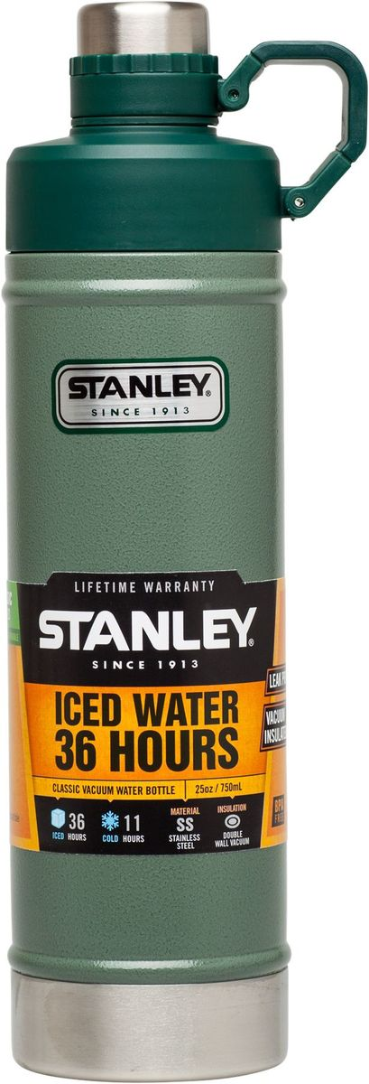 """Stanley """"Classic"""" - это бутылка с термоизоляцией для ежедневных и экстраординарных приключений! Корпус и внутренняя колба изготовлены из нержавеющей стали. Снаружи термос покрыт абразивостойкой эмалью. Термос оснащен двухступенчатой крышкой с кольцом-держателем. Вакуумная изоляция: сохраняет холод – 11 часов, напитки со льдом - 36 часов.Бутылка герметична, не прольется ни капли.Подходит для мытья в посудомоечной машине."""