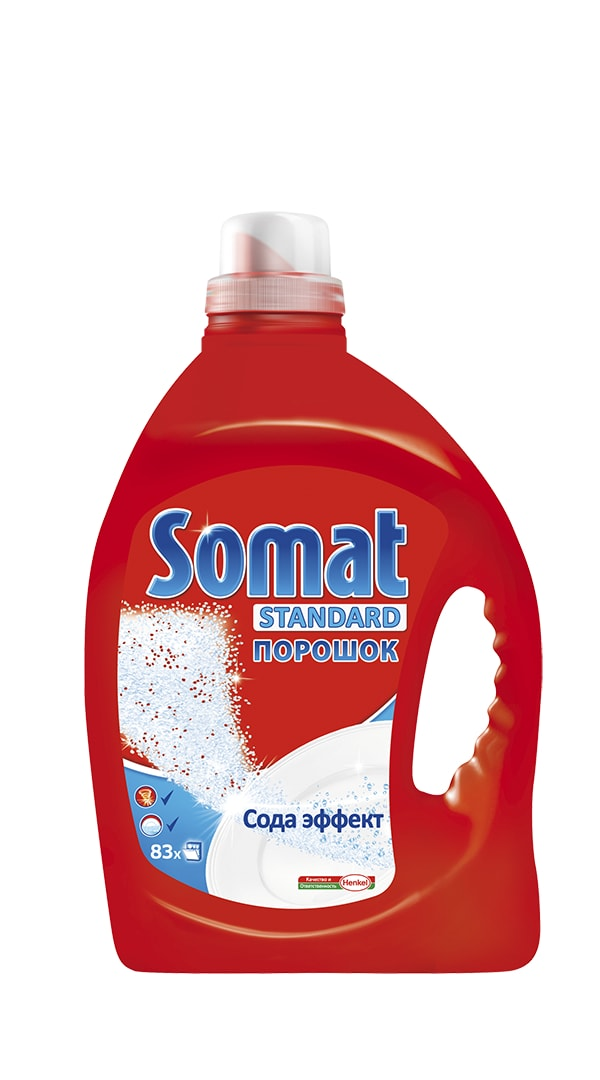 Средство для мытья посуды в посудомоечных машинах Somat, с сода-эффектом, 2,5 кг902360Средство для мытья посуды в посудомоечных машинах Somat с сода-эффектом обеспечивает кристальную чистоту и сияющий блеск вашей посуде. Оно удаляет даже сложные загрязнения и засохшие пятна при каждой мойке. Для достижения оптимального результата рекомендуется использовать также Ополаскиватель и Соль Сомат.Вес: 2,5 кг.Состав: 15-30% фосфаты, 5-15% кислородсодержащий отбеливатель, менее 5%неионогенные ПАВ, энзимы, отдушка, d - Лимонен. Также: сода, сульфат натрия, ингибитор коррозии, ТАЭД, красители.Товар сертифицирован.