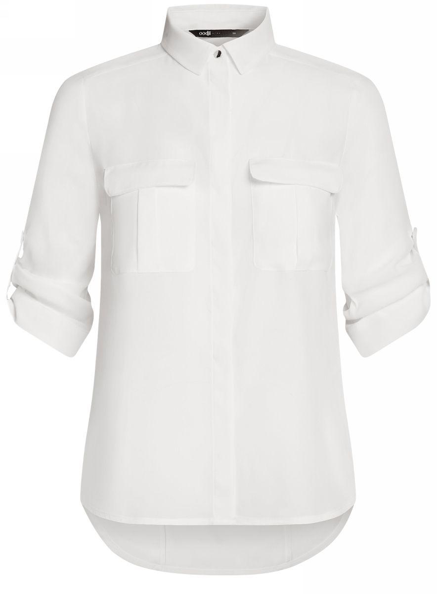 Блузка женская oodji Ultra, цвет: белый. 11403225-1B/45227/1200N. Размер 38-170 (44-170) блузка женская oodji ultra цвет белый 11411062 1 43291 1200n размер 36 170 42 170