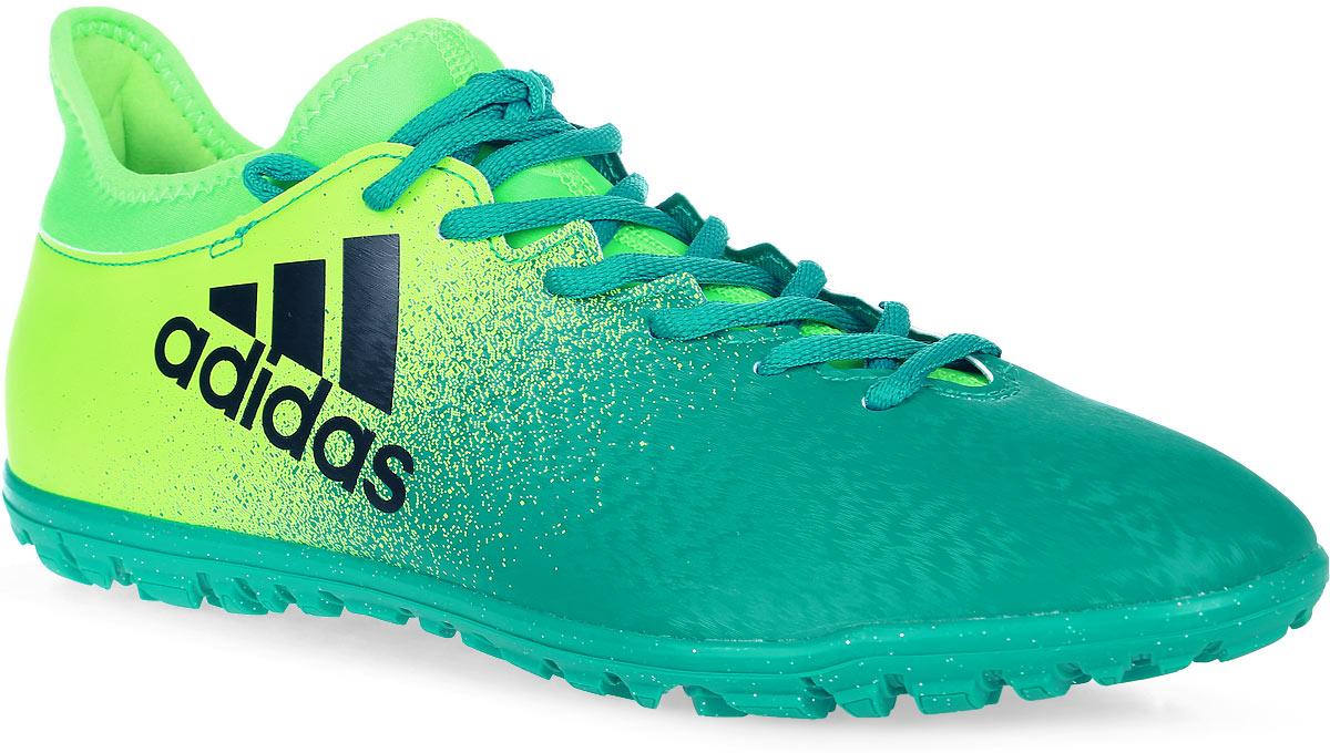 Кроссовки мужские adidas X 16.3 Tf, цвет: зеленый. BB5875. Размер 10,5 (44)BB5875Меняй правила игры и разрушай оборону соперника. Твоя максимальная скорость в новых кроссовках X 16. Легкий компрессионный верх techfit® плотно и комфортно облегает стопу, освобождая от траты времени на разнашивание. Созданы для скорости на твердых искусственных покрытиях. Верх techfit® обеспечивает идеальную посадку без разнашивания и траты времени на шнуровку. Подошва TF Chaos для игры на максимальных скоростях и сцепления с жесткими искусственными покрытиями.
